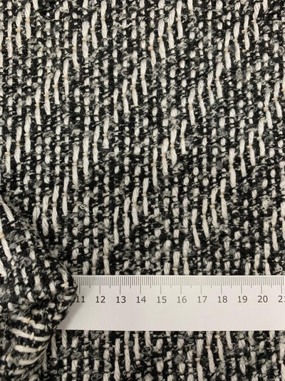 Designer Wool - Black, White & Latte Tweed