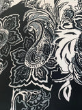 Printed Lycra - Supersize Black & White Paisley