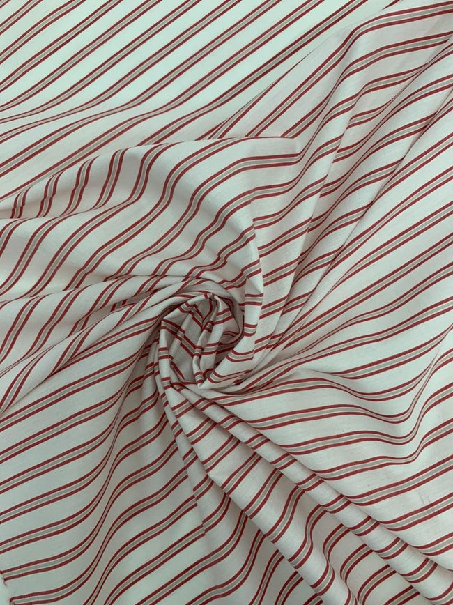 Red and White Striped Cotton Fabric - Showing Texture