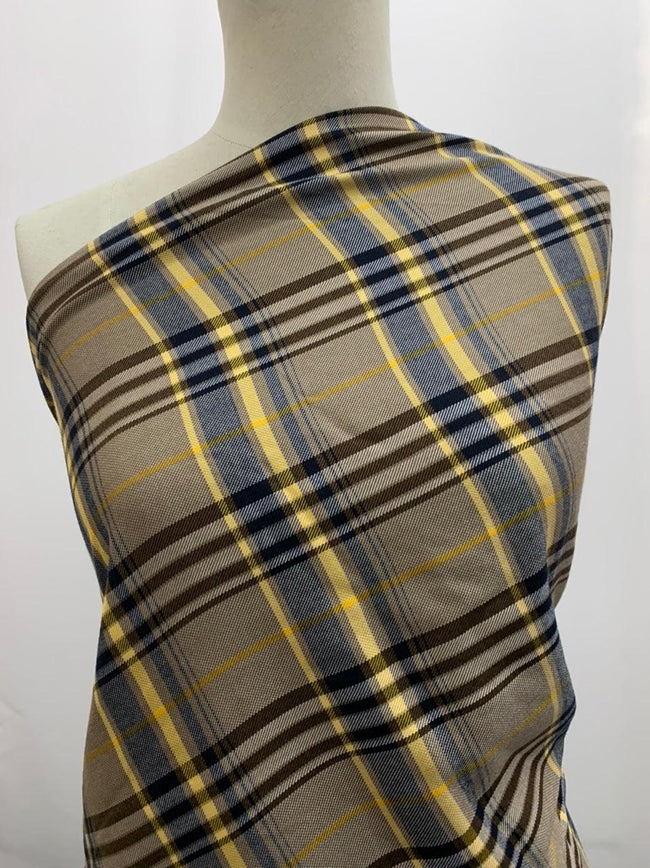 Wool Viscose - Camel Plaid