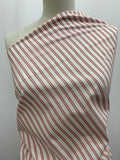 Red and White Striped Cotton Fabric