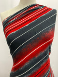 Printed Lycra - Grey & Red Stripe
