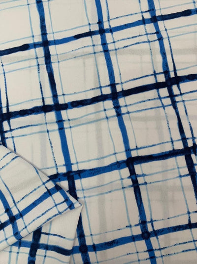 Printed Lycra - Blue Watercolour Grid