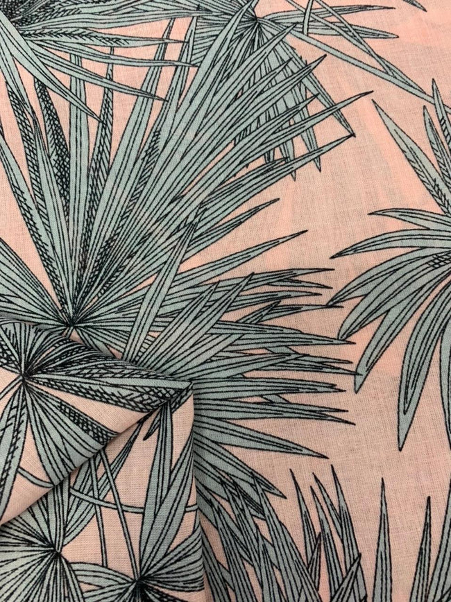 Cotton Voile - Pink Palms