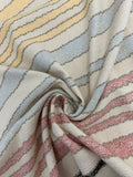 Textured Cotton Multi-Coloured Striped Fabric - Showing Texture