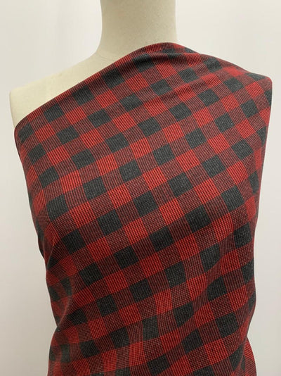 Linen Blend - Red & Charcoal Gingham