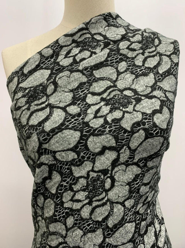 Masquerade Knit - Grey & Black Flowers