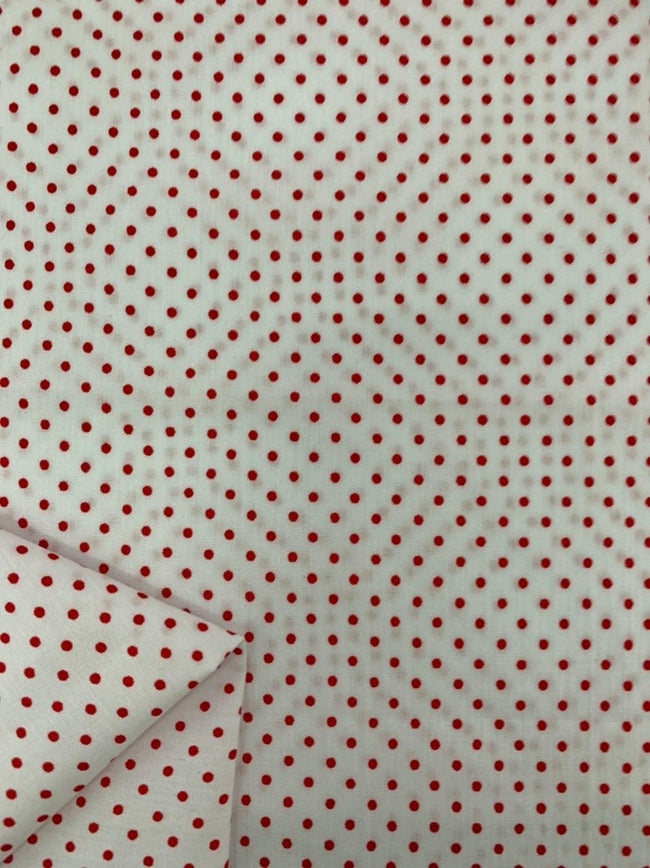 Printed Cotton - Red & White Spot
