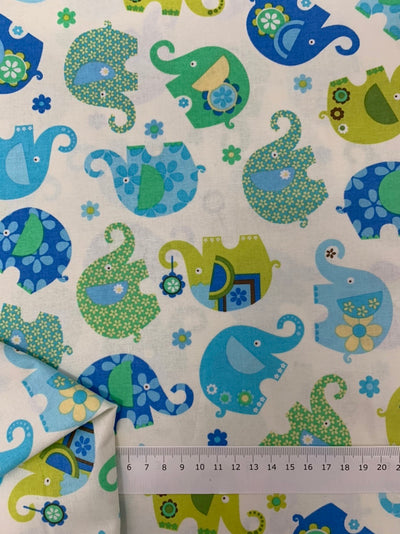 Printed Cotton - Blue Elephants