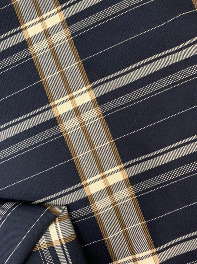 Wool Viscose - Navy Plaid