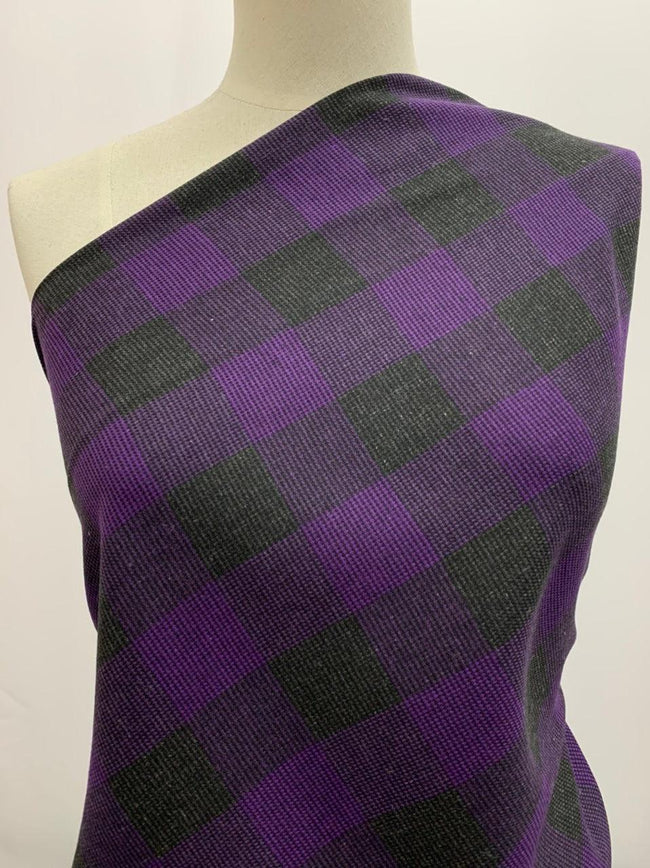 Linen Blend - Purple & Black