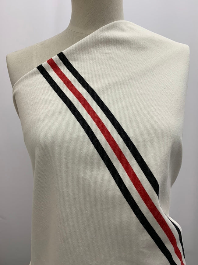 Cotton Drill - Red & Black Stripe