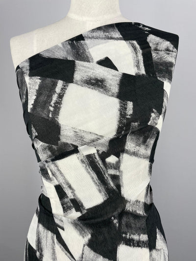 Super Cheap Fabrics - Designer Polyester - Abstract Brushstrokes - Black & White