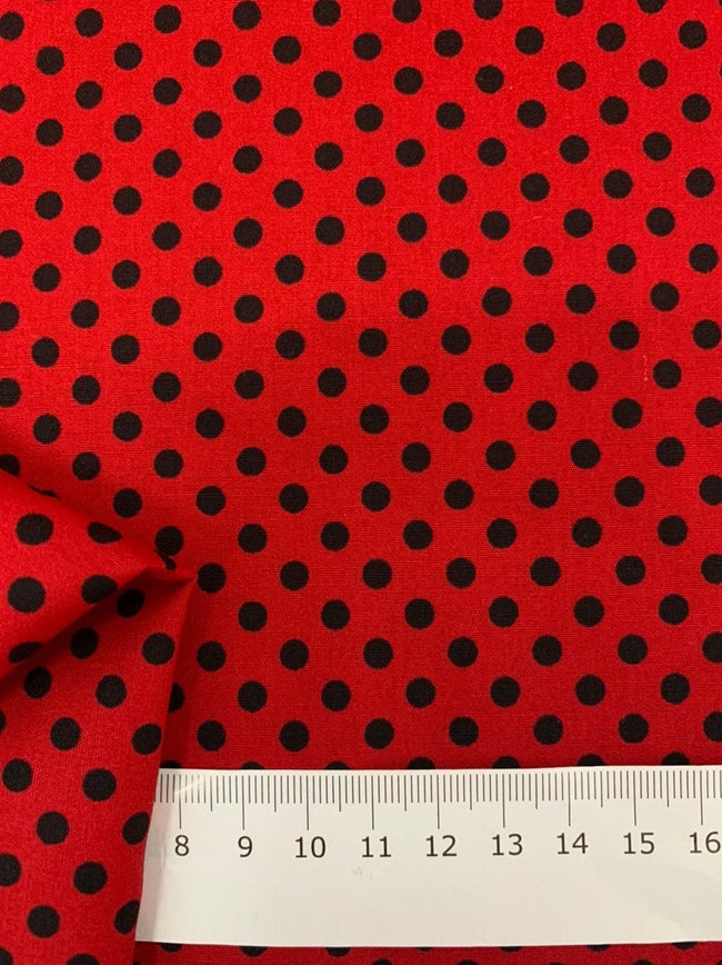 Printed Cotton - Red & Black Polka