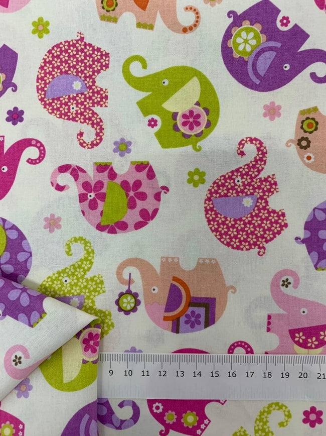 Printed Cotton - Pink Elephants