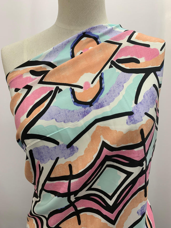 Printed Polyester - 80s Pastel