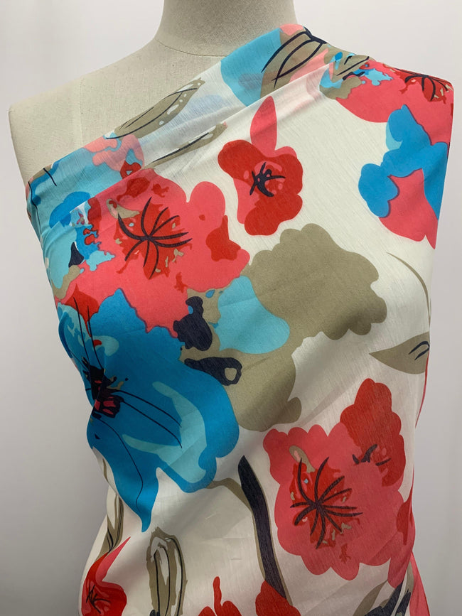 Cotton Voile - Red & Blue Hibiscus