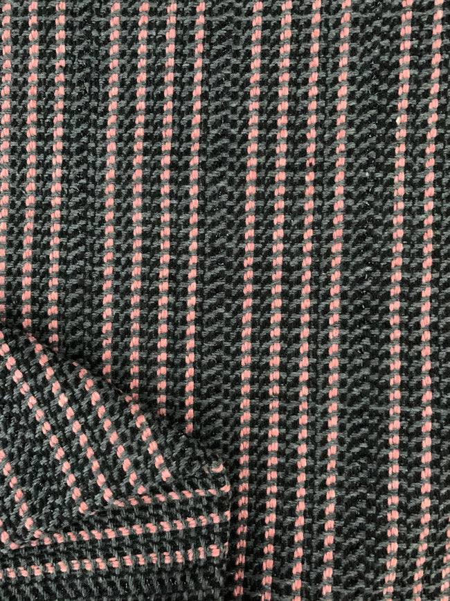 Designer Wool - Charcoal, Grey, & Pink Sparkle Stripe