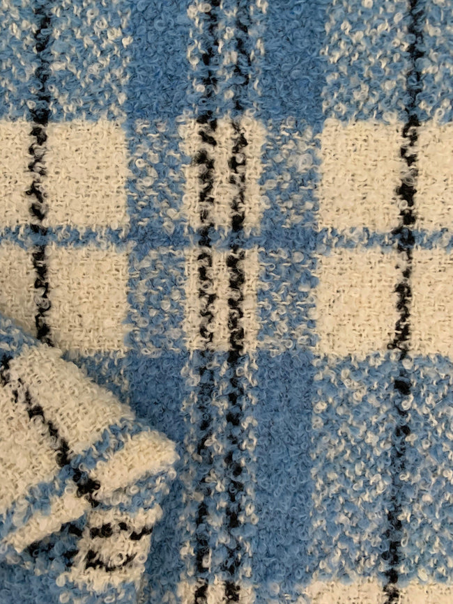 Designer Wool - Blue & White Grid