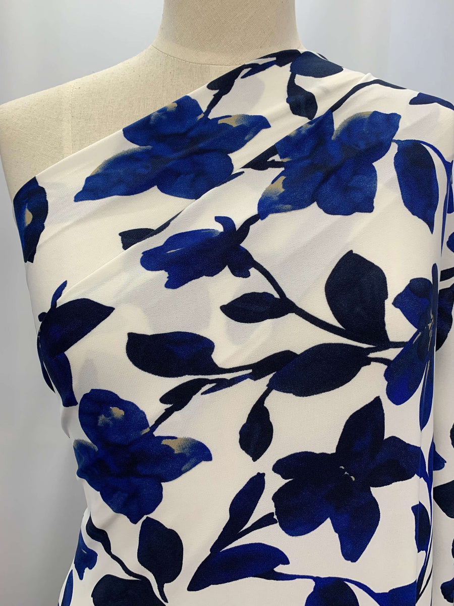 Printed Lycra - Deep Blue Flowers
