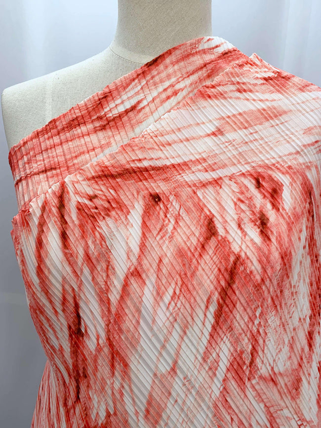 Pleated Polyester - Flamingo Swirl
