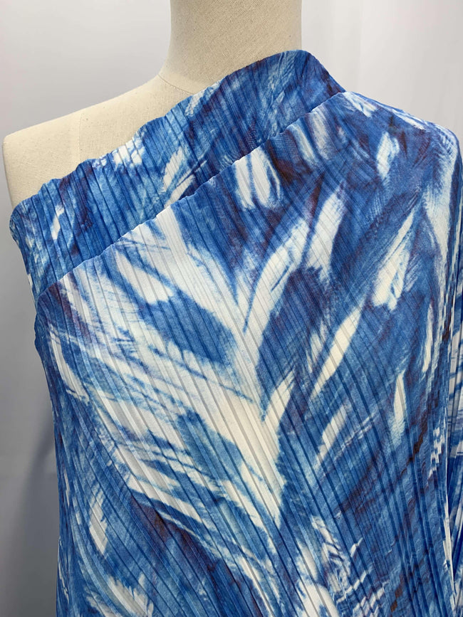 Pleated Polyester - Ocean Swirl