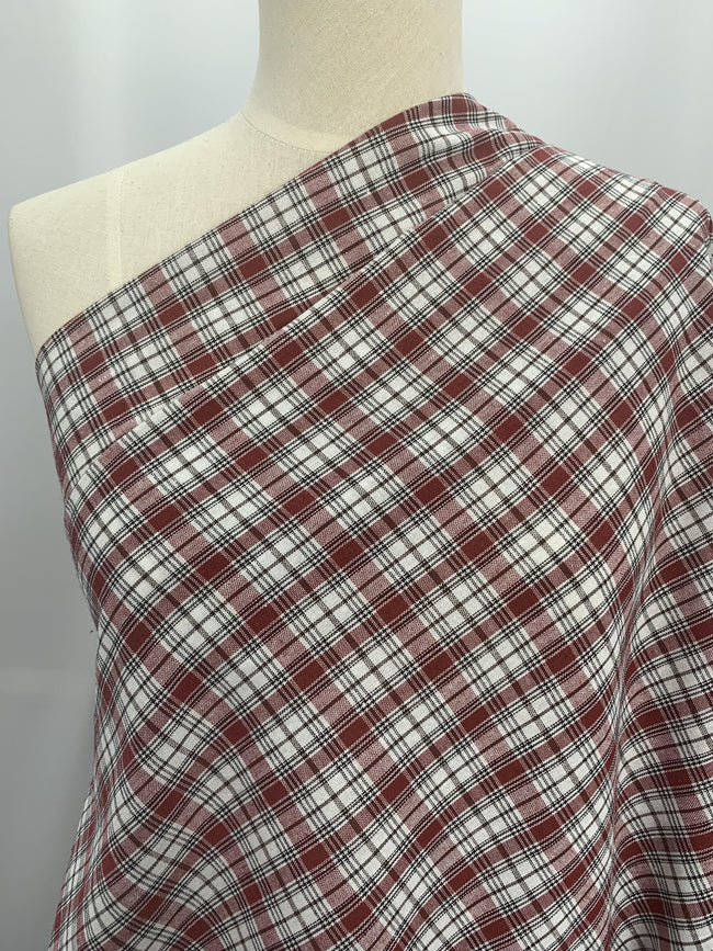 Linen Blend - Red Check
