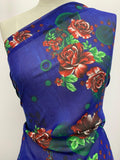 Printed Polyester - Cobalt With Red Roses