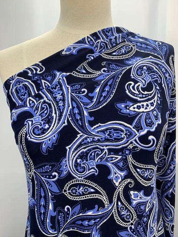Printed Lycra-Royal Blue Paisley