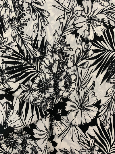Printed Polyester - Black & White Tropical Floral
