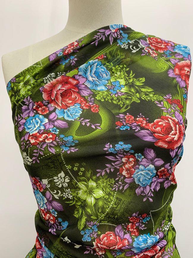 Printed Polyester - Green Treasure Floral