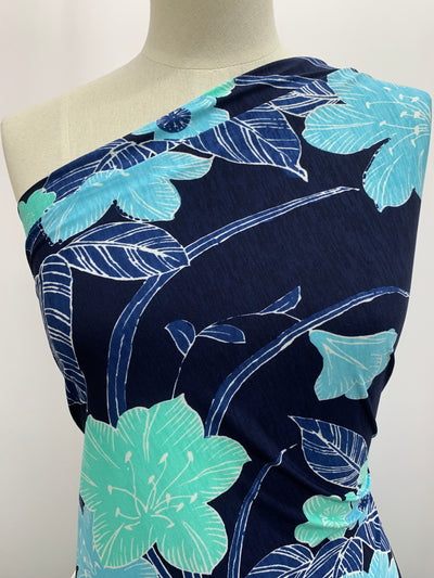 Printed Lycra - Blue Hue Bouquet