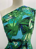 Printed Lycra - Green & Blue Butterfly