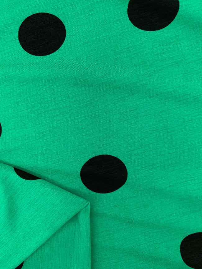Printed Lycra - Green & Black Polka