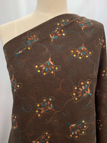 Embroidered Linen- Gold Sequin Lotus