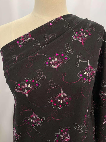 Embroidered Linen- Sequin Lotus