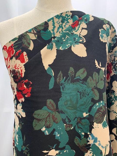 Cotton Sateen - Green and Red Roses