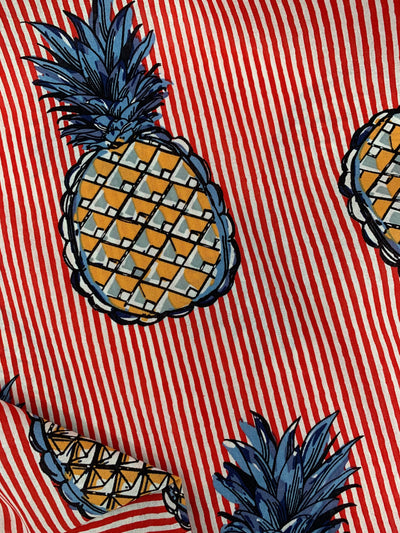 Printed Linen - Red Stripe Pineapple