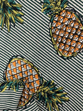 Printed Linen - Green Stripe Pineapple