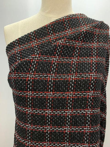 Designer Fabric - Red and Silver Tartan