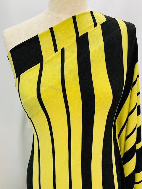Printed Lycra - Black and Yellow Stripes