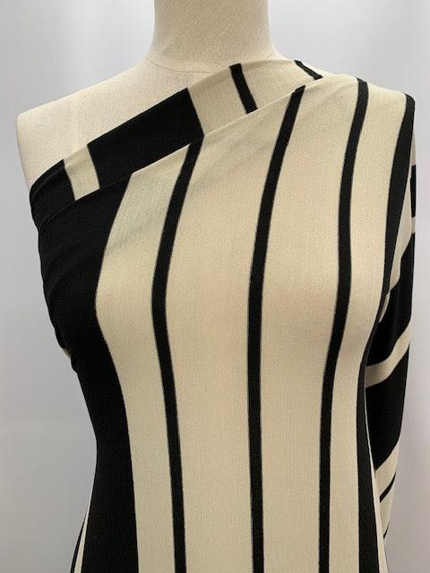 Printed Lycra - Black and Cream Stripes