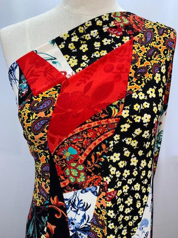 Printed Lycra - Red Paisley Patch