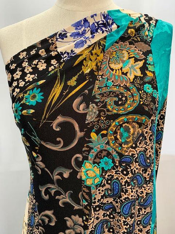 Printed Lycra - Blue Paisley Patch