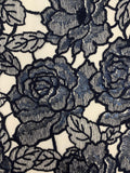 Designer Lace - Navy Rose & Leaf Sequin