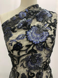 Designer Lace - Bold Blue Rose Sequin