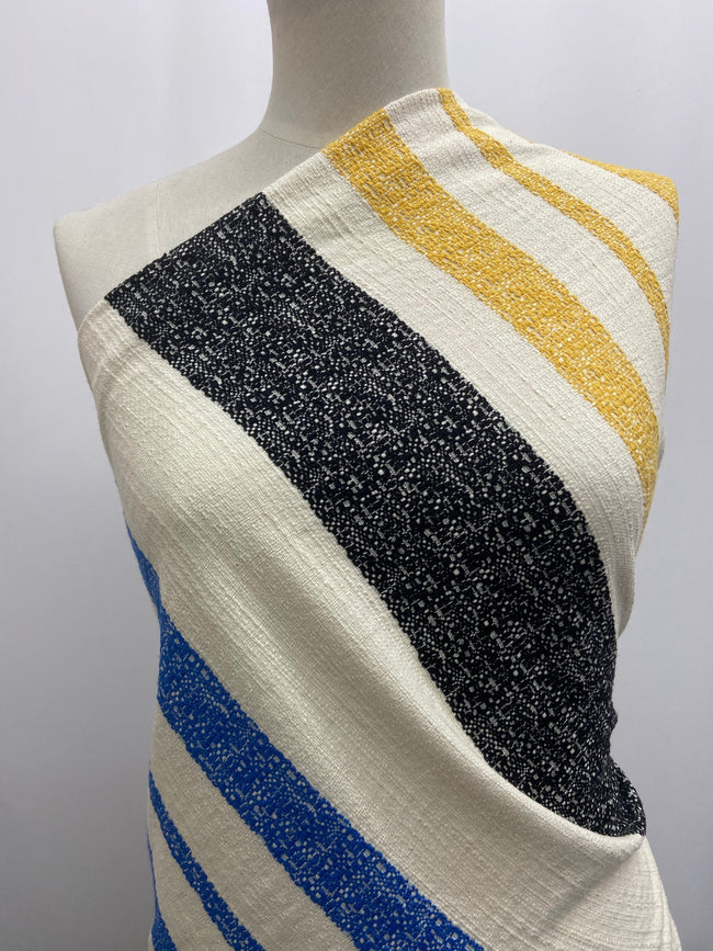 Textured Cotton with Yellow, Green, Blue and Black Stripes