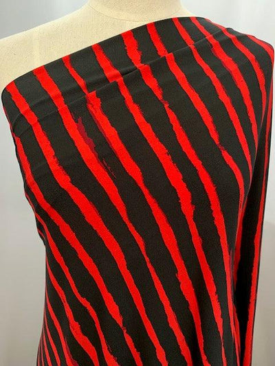 Printed Lycra - Red Jagged Lines
