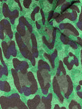 Textured Knit - Green Leopard