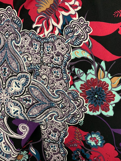 Printed Lycra - Sea Flower Paisley